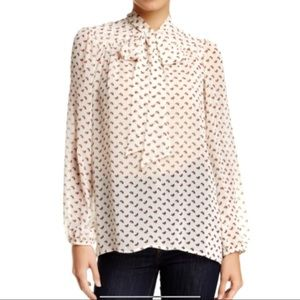 Harlow & Graham Red Cream Floral Tie Neck Blouse
